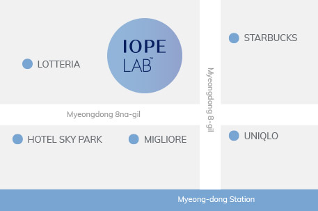 Map of IOPE Flagship Store: Go toward Exit 7 of Line 4 Myeongdong Station -> Exit through Exit 7 of Myeongdeong Station -> Walk 67m toward the right (Myeongdong 8-gil) -> Walk 47m toward the left from the entrance of Nature Republic (Myeongdong 8na-gil) -> Arrive at IOPE Flagship Store on the right (Takes about 5-10 minutes total)